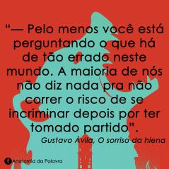 Livro Sorriso Hiena Gustavo Ávila Frase