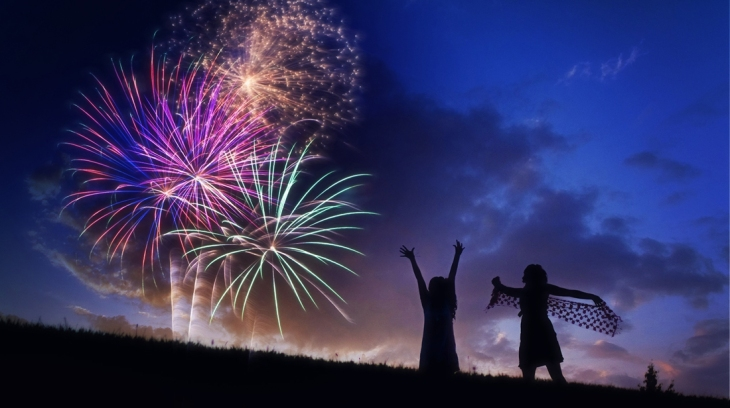 Céu Fogos Silhueta Comemoração Fireworks ACT