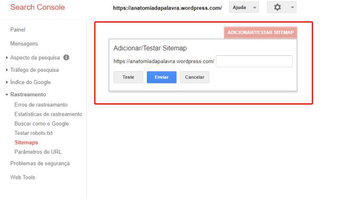 Adicionar sitemap, Search Console, Google Webmasters