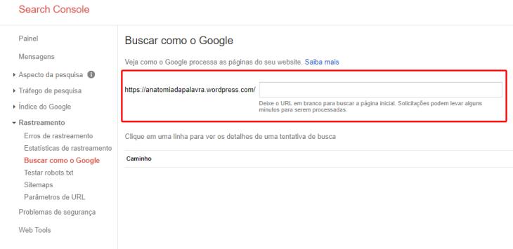 Search Consolo, Google Webmasters, Buscar como o Google