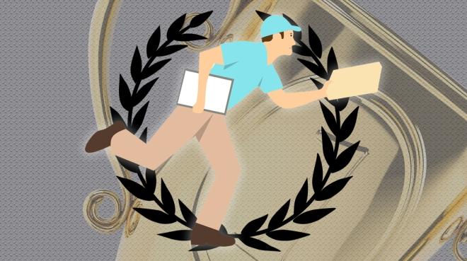 Imagem de um Entregador; Transportadora; Troféu; Coroa de louros