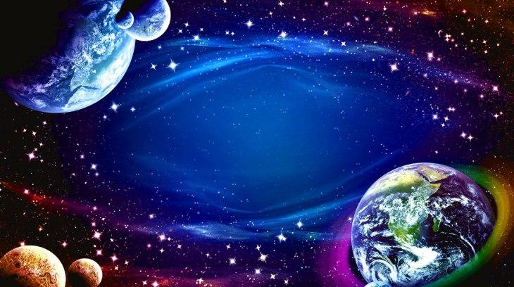 Planetas no espaço sideral, estrelas brilhando, fantasia