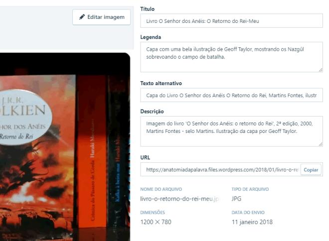 Wordpress Biblioteca de Mídia, editar imagem