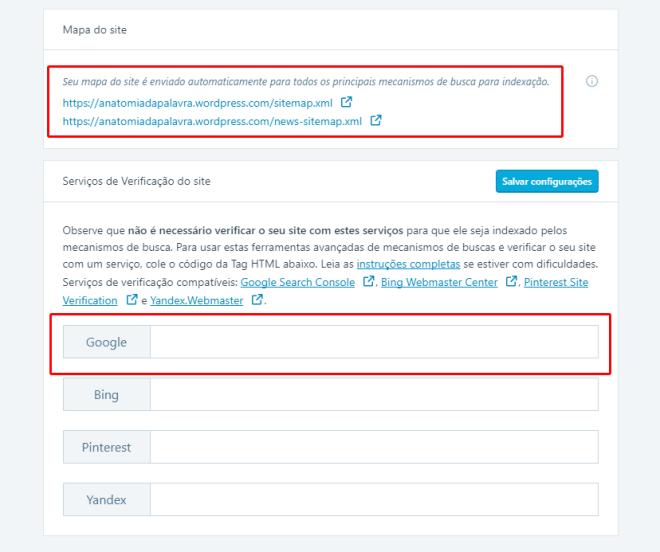 Opção Serviços de Verificação do site, do WordPress, sitemap
