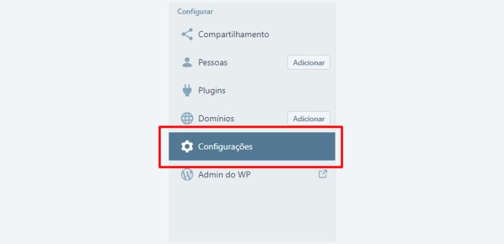 Painel do WordPress, Menu principal, configurações