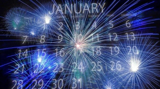 Fogos de artifício, azul, janeiro