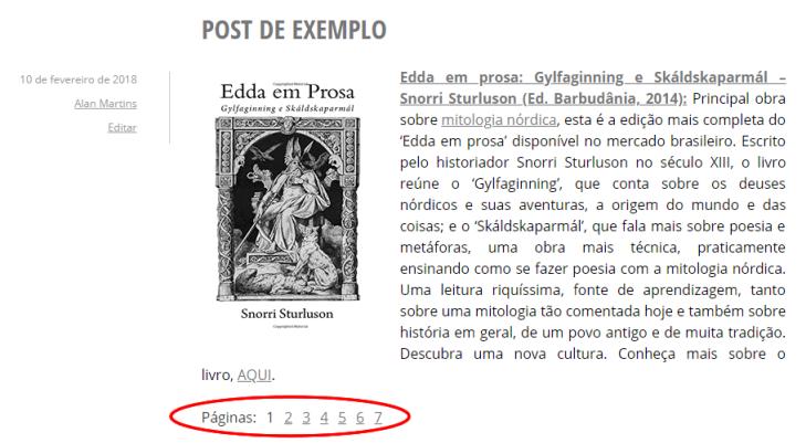 Exemplo de um post utilizando a quebra de página