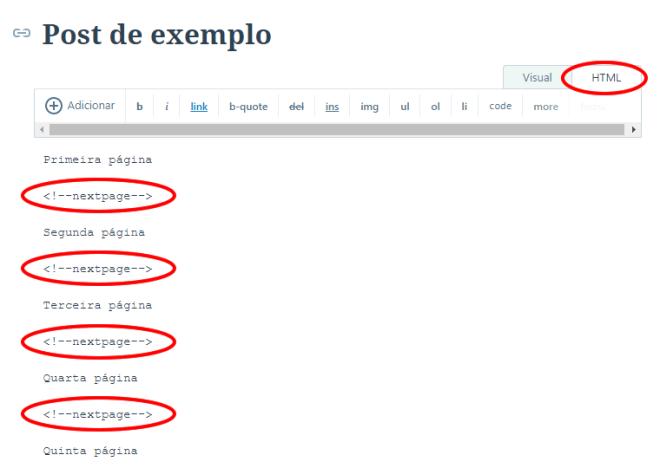 Exemplo de paginação no editor de texto do WordPress