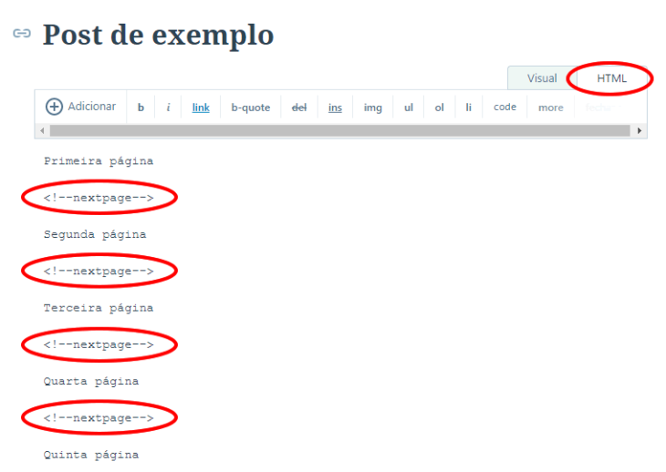 Exemplo de paginação no editor de texto do WordPress