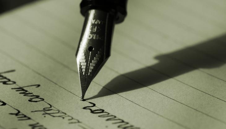 Canela tinteiro, escrita à mão