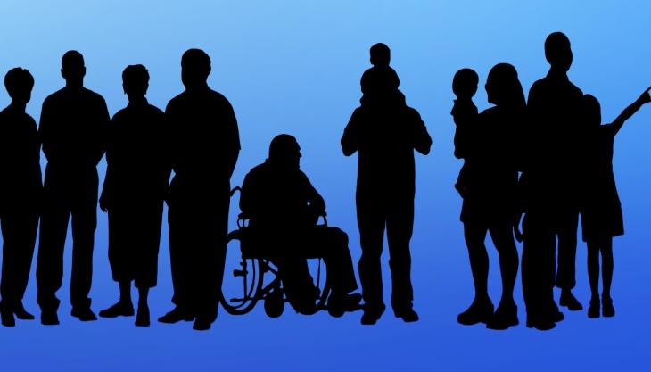 Silhuetas deficiência e sociedade