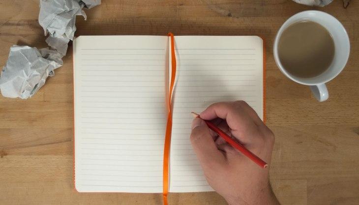 Caderneta de anotações xícara lápis