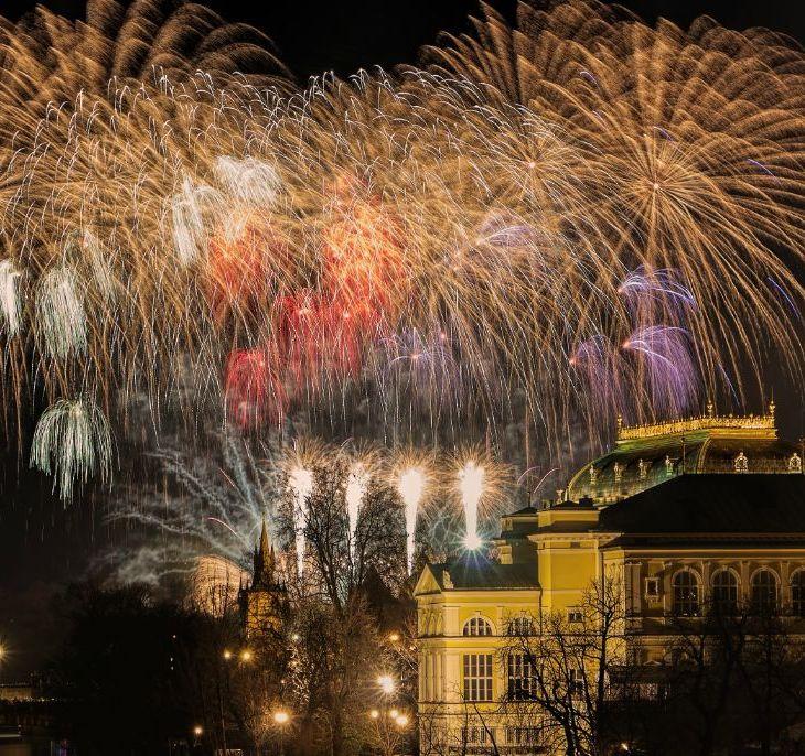 Fogos de artifício Ano Novo Praga