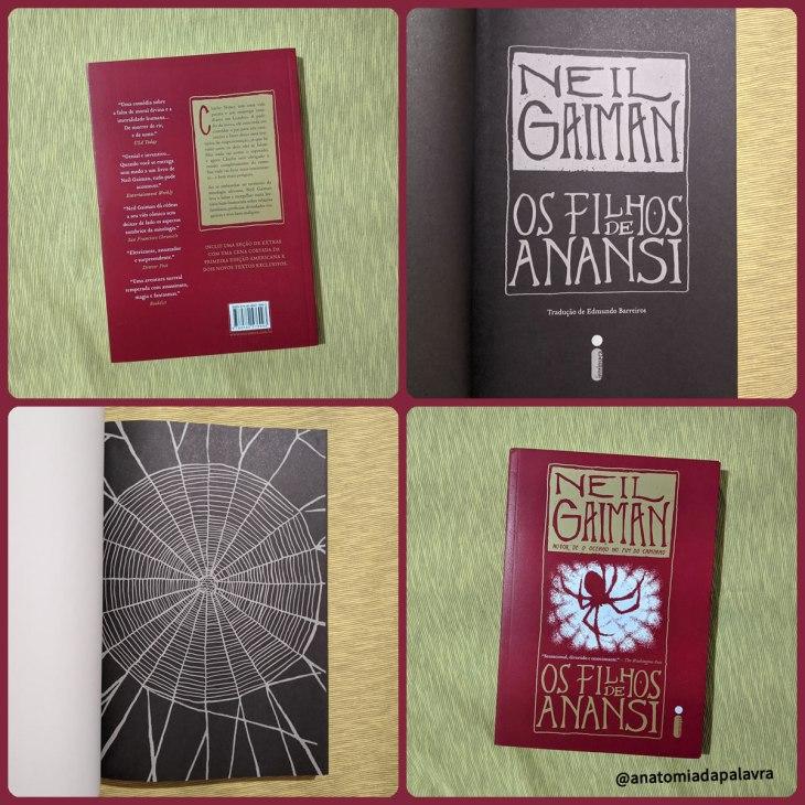 Detalhes do livro Os filhos de Anansi, de Neil Gaiman, por dentro