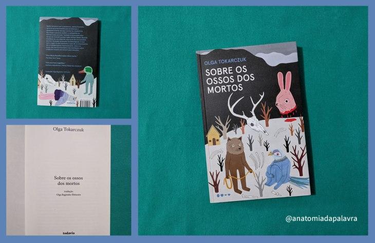 Capa do livro Sobre os Ossos dos Mortos: animais coloridos, ossos e troncos sobre chão coberto de neve; ilustração de Talita Hoffmann