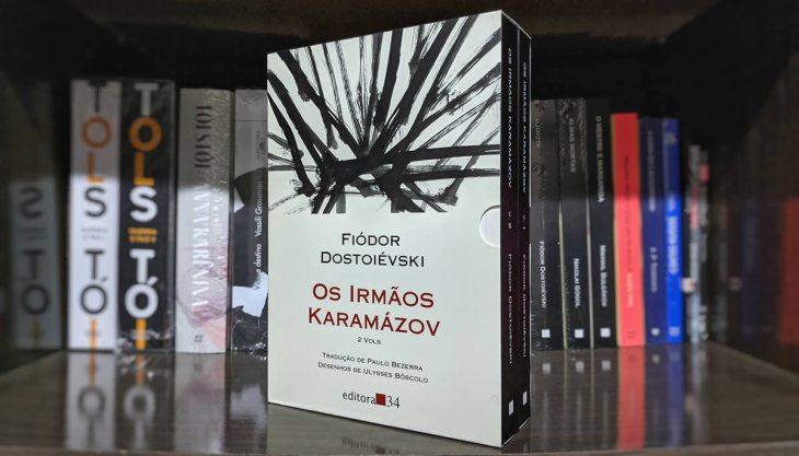 Edição da Editora 34 de Os Irmãos Karamázov, divididas em dois volumes, ambos em uma caixa