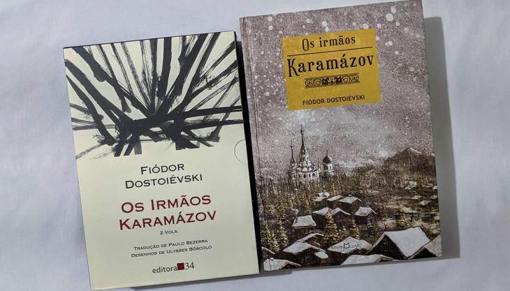 À esquerda, a edição da Editora 34 do livro Os Irmãos Karamázov, à direita, a da Martin Claret