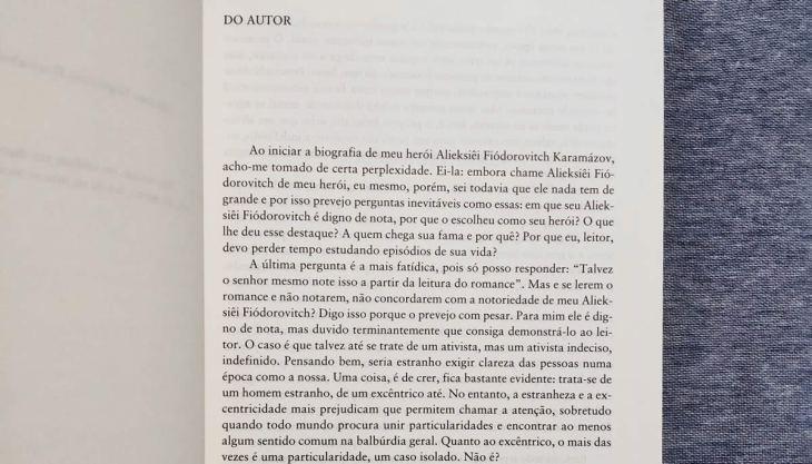 Prefácio da obra Os Irmãos Karamázov pela Editora 34