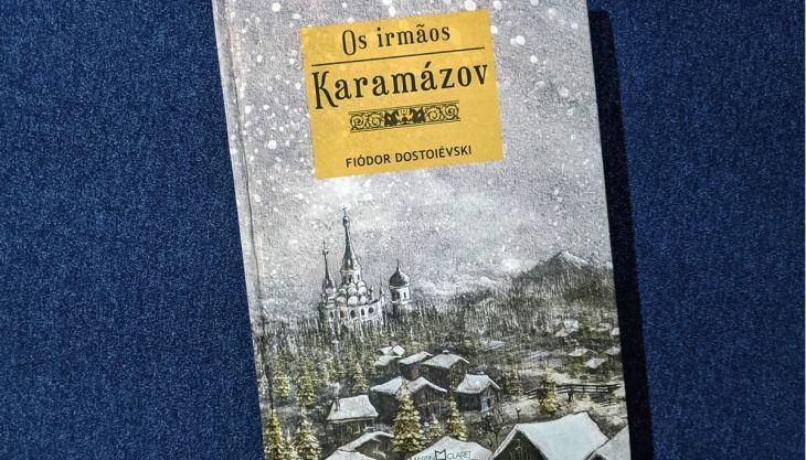 Capa do romance Os Irmãos Karamázov pela Martin Claret, detalhe em capa dura