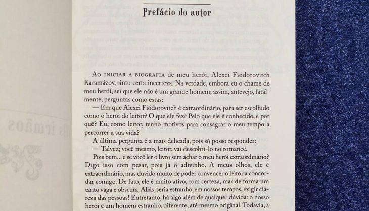 Prefácio do romance Os Irmãos Karamázov na versão da Martin Claret