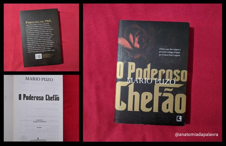 Livro O Poderoso Chefão, antiga edição da Editora Record, volume sobre fundo vermelho