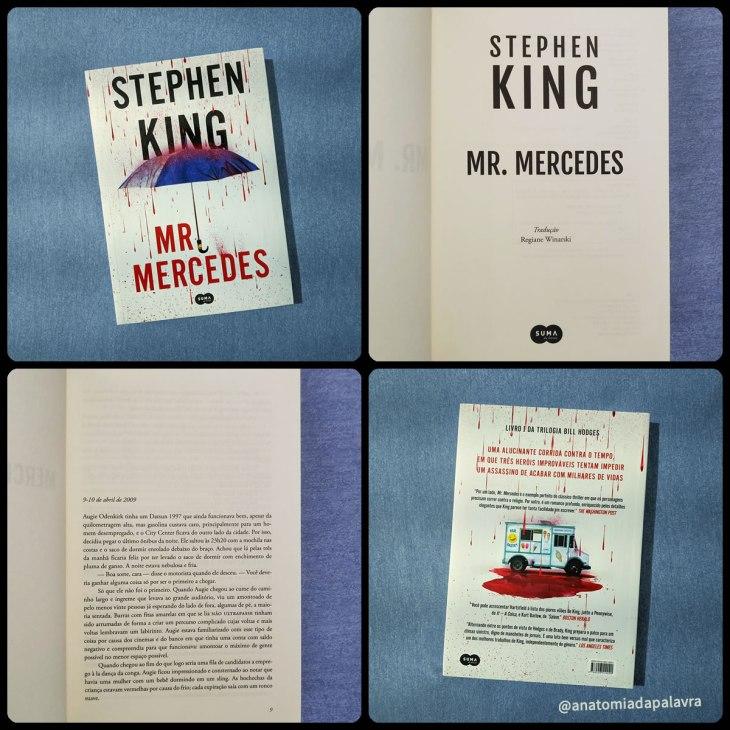 Detalhes do livro Mr. Mercedes, de Stephen King. Capa, contracapa e detalhes das páginas
