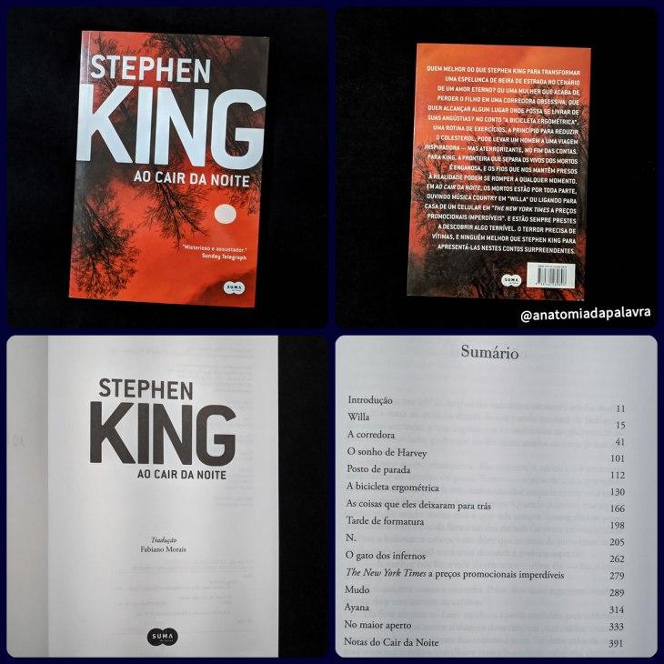 Detalhes do livro Ao Cair da Noite, de Stephen King, pela Suma de Letras, 2011