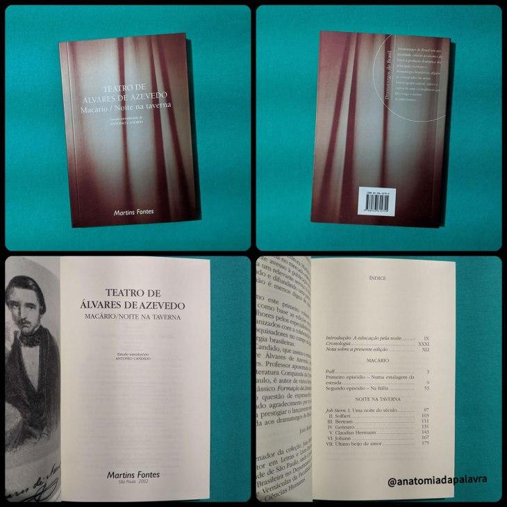 Teatro de Álvares de Azevedo - Macário e Noite na Taverna: detalhes do livro, edição da editora Martins Fontes, de 2002