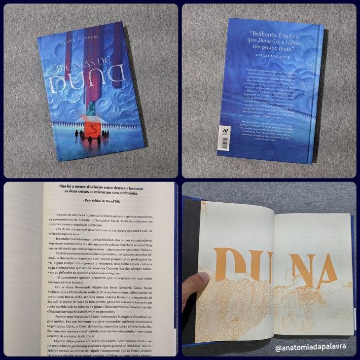 Livro Messias de Duna, de Frank Herbert: edição da Aleph, em capa dura, detalhes do interior